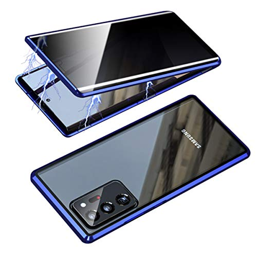 RANYOK Compatible Galaxy Note 20 Ultra (6.9 inch) Privacy Magnetic Case, Double-Sided Tempered Glass with Built-in Screen Protector 360° Full Body Metal Frame Cover for Note 20 Ultra 5G (Blue)