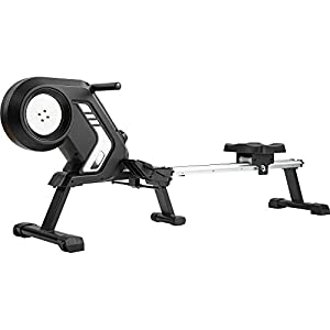 Indoor home rowing machine/Rower, Magnetic Resistance Rowing Machine with Foldable Design, 8-Level Adjustable Resistance, Transport Wheels, Advanced Driving Belt System, 12-Month Warranty (Black)