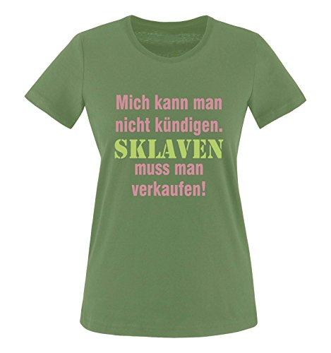 Comedy Shirts - Mich kann man nicht kündigen. Sklaven Damen T-Shirt - Oliv/Rosa-Hellgrün Gr. XS