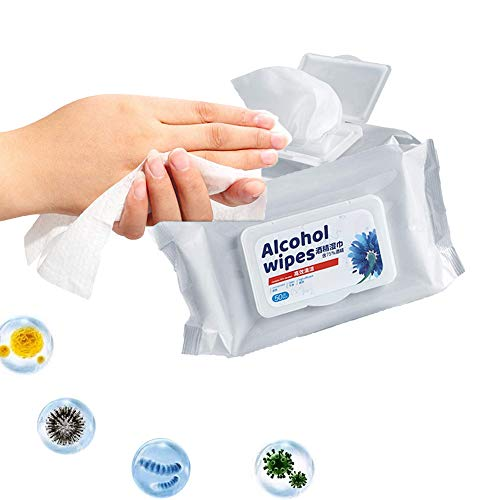 """Price comparison product image Alcohol Detergent Wipes (2 Packs, 100Wipes), Large Wet Wipes(8""""x6""""), 75% Soft Alcohol Wipes for All-Purpose Cleaning"""