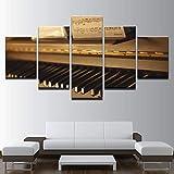 Zaosan Pintura Mural HD 5 Piano Antiguo Cuadros Instrumento Musical Cartel Marco