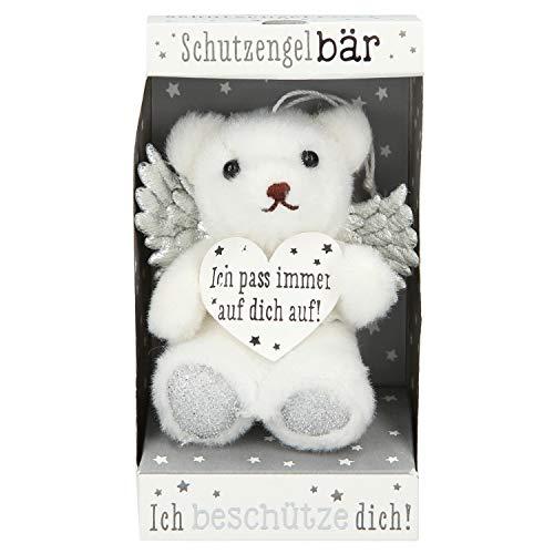 Depesche 10854 Schutzengel Teddybär in Box, ca. 10 cm, weiß und silber, sortiert