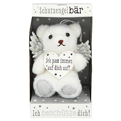 Depesche 10854 - Schutzengel Teddybär in Box, ca. 10 cm, sortiert, weiß und silber
