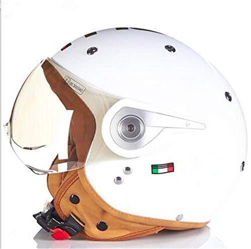 Pkfinrd Pilot Retro Jet Helm Knight Cruiser Chopper Retro halbverdeckte Roller Helm Retro Harley Helm@Helles Weißgold_M