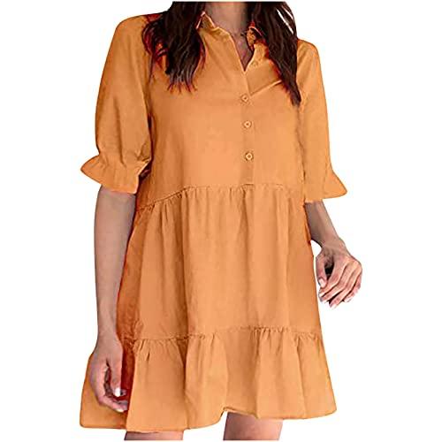 pamkyaemi Vestido de verano para mujer, cuello en V, manga corta, sexy, elegante, informal, por encima de la rodilla, estilo bohemio, para la playa, tiempo libre. naranja S