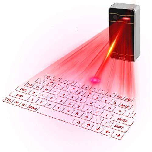 WWJL Virtuelle Mini-Keyboard-Projektion, Bluetooth-Tastatur drahtlose projizierte Tastatur, für Smartphone-Tablet-PC-Laptop (schwarz),Schwarz