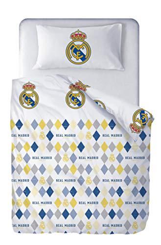 Real Madrid Juego de Cama Reversible 2 Piezas. Funda Nórdica 150x220 cm + Funda de Almohada 45x110 cm