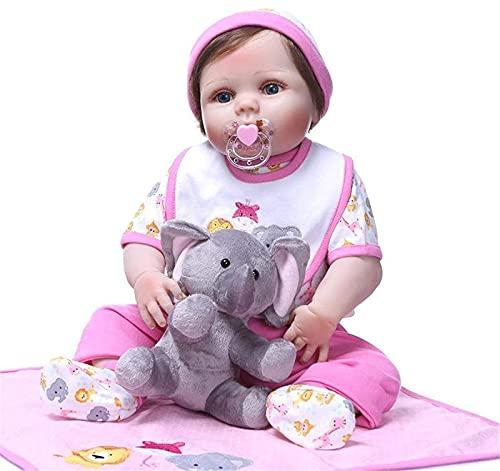 Reborn Baby Doll, muñecas realistas de 56 cm, 1,65 kg, de cuerpo completo de silicona, muñecas de renacimiento de bebés, con material de silicona, juguetes realistas para bebés para niñas, con ropa, 5