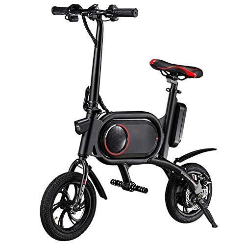 WXX Fold portátil Plegable Bicicleta eléctrica, 12 Pulgadas 36V E-Bici con 5.2Ah batería de Litio de 350 W Ciudad de Bicicletas, Doble Disco de Freno (Capacidad de Carga: 120 Kg),Black Red