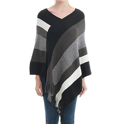 Carcos - Poncho de punto para mujer, diseño de rayas multicolor Negro Negro ( Talla única