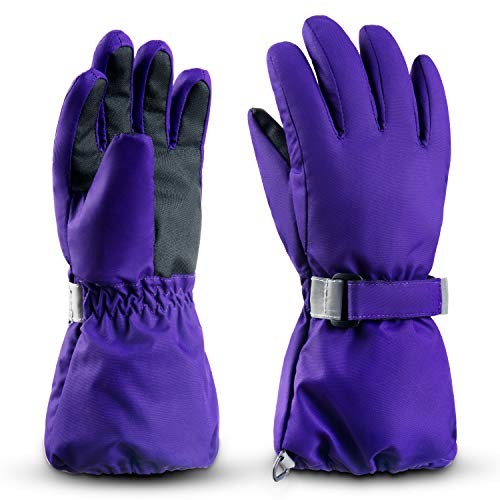 ThxToms Kids Winter Gloves, Waterproof Ski Snow Gloves for Boys and Girls, Winter Warm Gloves for Cold Weather Outdoor Play (Purple Ages 7-10)