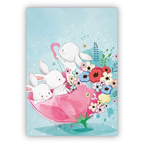 Schattige wenskaart met kleine hazen & bloemen in de paraplu ook als paaskaart voor medewerkers, familie & vrienden • mooie kaart met envelop als wenskaart