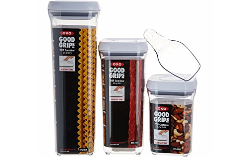 OXO Good Grips 3 Piece Pop Container Set with Scoop,White