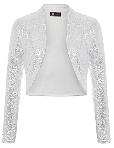 KANCY KOLE Women's Casual Jacket Sparkly Sequin Long Sleeve Cropped Blazer Bolero Shrug (Silver,M)