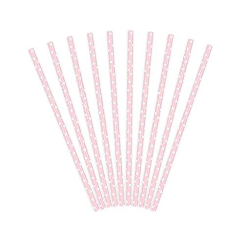 Set 10 Cannucce di Carta Rosa con Pois Bianchi da 19,5 cm di Lunghezza ideali per Matrimonio Eventi Feste di Compleanno Natale Pallini …