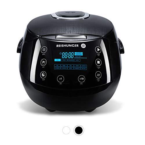 Reishunger Olla Arrocera Electrica y Cocina de Vapor Digital hasta 8 Personas – Hervidor de Arroz con 12 Programas - Con Inserción de Vapor y Función Automática de Mantenimiento del Calor