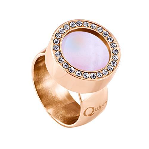 Quiges Rosegold Ring Edelstahl Glänzend 12mm Mini Coin Halter Wechselring mit Zirkonia und Austauschbare Rosa Muschel Coin in der Größe 19mm