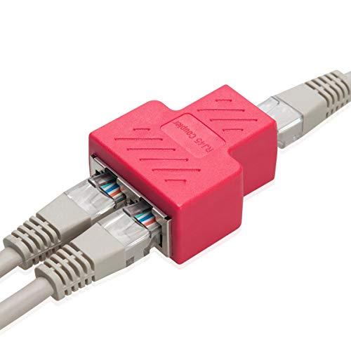 COVVY RJ45 Splitter Connector Hembra a Hembra Adaptador de Red 1 a 2 Puerto Hembra Cat 5 / Cat 6 LAN Cable Ethernet Adaptador...