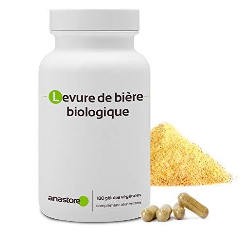 LEVADURA DE CERVEZA ECOLÓGICA * 500mg / 180 cápsulas vegetales * Prevención del envejecimiento * Fabricado en Francia * Calidad controlada por certificado de análisis * Garantía de satisfacción o reembolso