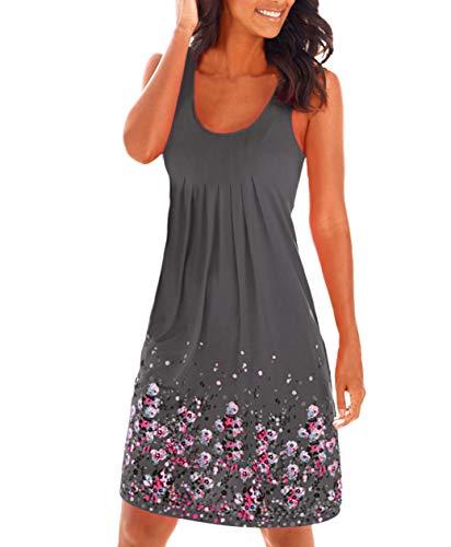 Damen Sommerkleid ohne ärmel Knielang Strandkleid Elegant Partykleid cocktailkleid Spitze Druck A-Linie Kleider (M, Kaffee)