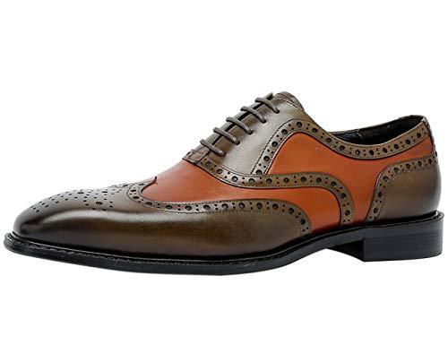 Brogue Zapatos de Cordones Clásico Wing Tips Casual Bicolor Oxford Formal Zapatos de Vestir