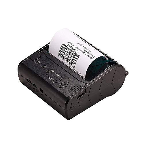 WSMLA Imprimante à reçu thermique USB Alimentation interne et câble inclus Mini-imprimante Bluetooth sans fil Imprimante à reçu thermique Imprimante personnelle portable Imprimante d'étiquettes 80mm P