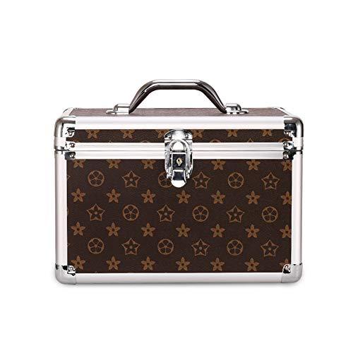 YUUMI Make-up-Aufbewahrungsbox, tragbare Aufbewahrungsbox, ABS-Box-Oberfläche + PC-Silberrahmen + mechanisches Schloss, Aufbewahrungstasche für Make-up-Werkzeugbürste mit Fach (8 Zoll)-brown-large