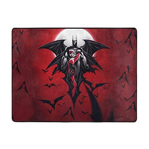 KANKANHAHA - Felpudo antideslizante para puerta de casa Harley Quinn y caballero oscuro, 63 x 48 pulgadas