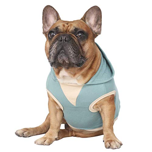 iChoue Pet Clothes Dog Hoodie Sleeveless Hooded Sweatshirt Pullover French Bulldog Frenchie Shiba Inu Cotton Pullover Coat Clothing - Green/Size M