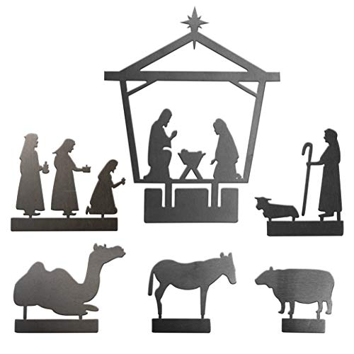 Nativity Set for Christmas | Indoor Scene for Rustic + Modern Decorations - Metal - 6 Pieces - Decoration for Shelf, Table + Window - Made in The USA by Rusted Orange Craftworks Co.