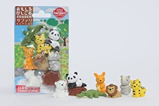 Iwako Wild Safari Animals Crocodile, Cool Panda Chill Out Japanese Erasers Blister Set