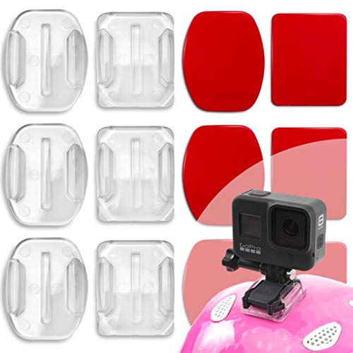 Durchsichtig Gopro Helmhalterung Klebrige Flache Gebogene Halterungen für GoPro Hero 9, Hero 8, Hero 7, Max, Fusion, 6, 5, 4, Session, 3+, 3, 2, Sport Kameras GoPro Klebepads, GoPro Halterung Helm 6er