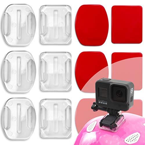 Amazitoys Gopro Helmhalterung Klebrige Flache Gebogene Halterungen für GoPro Hero 9, Hero 8, Hero 7, Max, Fusion, 6, 5, 4, Session, 3+, 3, 2, 1 Sport Kameras GoPro Klebepads, GoPro Halterung Helm 6er