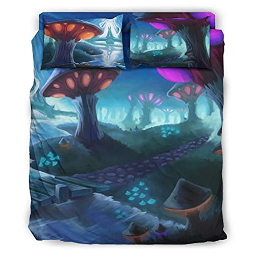 Wandlovers Juego de ropa de cama de 4 piezas Fantasy con diseño de puente de setas, para todo el año, funda nórdica y fundas de almohada, faldón de cama, color blanco, 203 x 230 cm