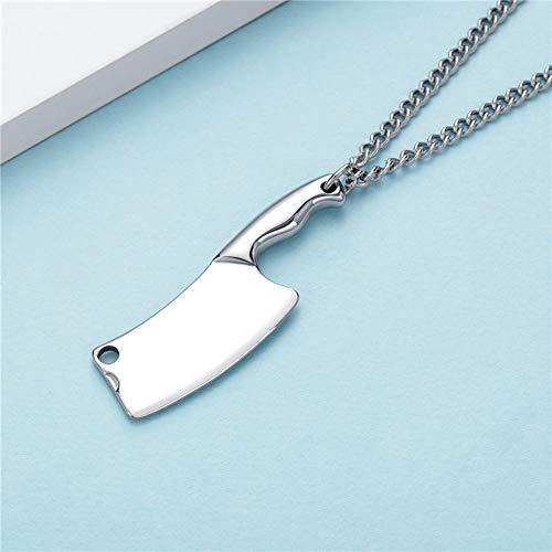 HANYF Küchenmesser Titan Stahl Halskette, Vielseitige Herrenbekleidung Zubehör Zubehör, Tägliche Abnutzung,Silber