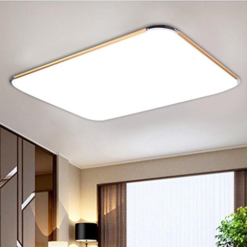 BiuTeFang LED plafonnier en acrylique en aluminium avec lampe de salon à LED simple rectangulaire avec cadre en or blanc 65x43cm 32W