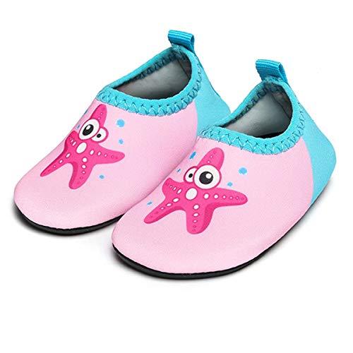 JIASUQI Baby Durable Sohle Barfuß Wasser Haut Schuhe Aqua Socken für Strand Pool Sand Swim Surf Wasser Gymnastik, Rosa Seestern 18-24 Monate
