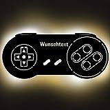 Gaming Controller Retro Lampe aus Holz - personalisierbares
