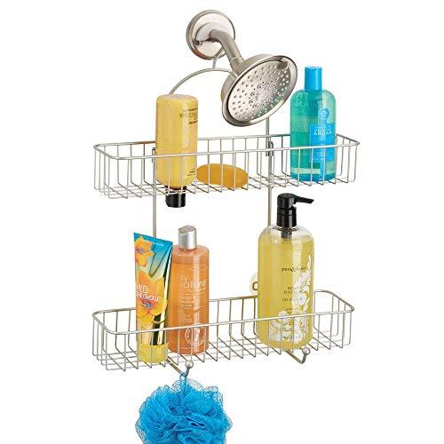 mDesign Repisas para baño sin taladros – Organizador de
