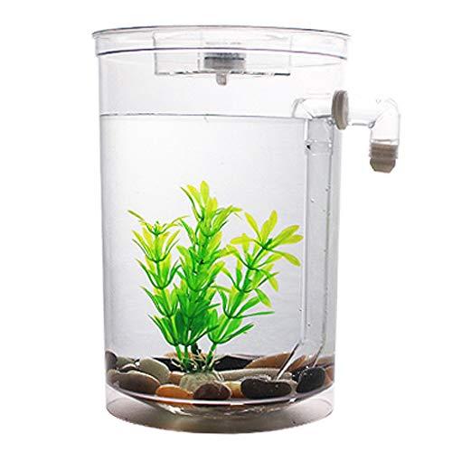 XLSQW Los Pescados de Betta del Acuario del Tanque de Escritorio Aquaponic Cilindro Ecología Tanque de plástico de autolimpieza Decoración, con luz LED, para la Oficina, Dormitorio, Inicio