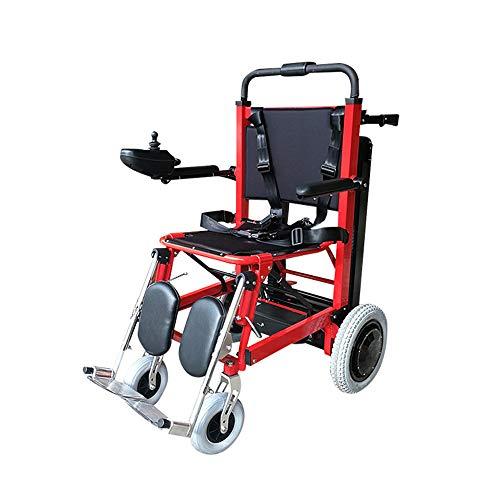 Silla de ruedas eléctrica plegable para subir escaleras - Puede subir escaleras Silla de ruedas portátil Viaje ligero, Puede ser como dispositivos de elevación Camilla Ayuda de movilidad para
