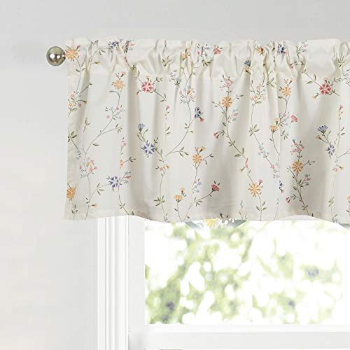 Annlaite Window Short Curtains Valances for Bedroom Dining Room, Rod Pocket Rustic Style Farmhouse Small Curtian Drapes Valance for Cafe Room Kitchen,59x16,White
