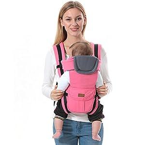 41xDpiTI51L. SS300  - ThreeH Ergonómico portabebé algodón y poliéster 4 llevar las posiciones para los niños BC08,Pink