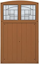 Wooden garden gate with stained glass insert panels at top