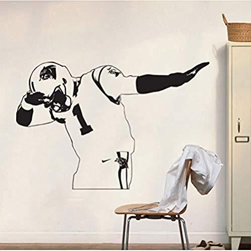 Pegatinas de pared autoadhesivas con diseño de leopardo con texto en inglés 'Keep Impact Cam Newton' (57 x 86 cm)