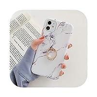 MuuYuu for iPhone 12 Mini 11 Pro Max XR XS Max 7 8Plusケース用リング付き大理石の電話ケースソフトIMDマットフルボディ電話カバー-h-for iPhone 11