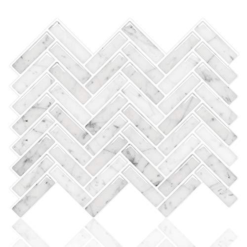 STICKGOO Despegar y pegar Azulejos Backsplash, Sky Marble Herringbone Adhesivo Backsplash Azulejos, pegar en azulejos para cocina y baño (paquete de 10, diseño más grueso)