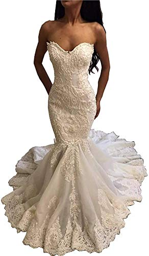 iluckin Women's Strapless Sweetheart Appliques Mermaid Lace Wedding Dresses with Train for Bride Bridal Ball Gown D-White