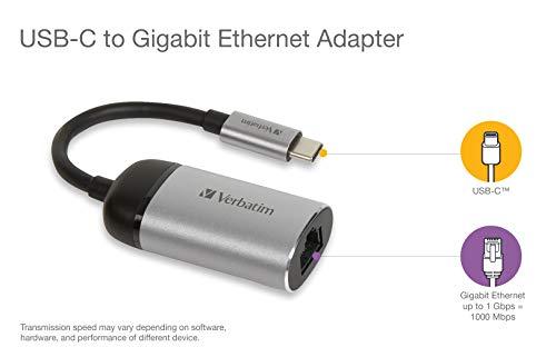 Verbatim USB-C auf Gigabit Ethernet Adapter - Netzwerkadapter für Kabelverbindung mit einem Netzwerk, inkl. 10 cm USB-C-Kabel