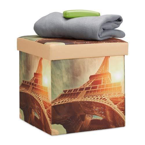 Relaxdays 10022865_470 Tabouret avec rangement pouf pliant pliable rembourré repose-pieds LED HxlxP: 38 x 38 x 38cm Tour Eiffel, Polyester, 38 x 38 x 38 cm